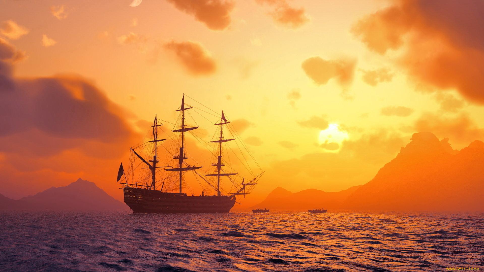 Море корабли закаты картинки